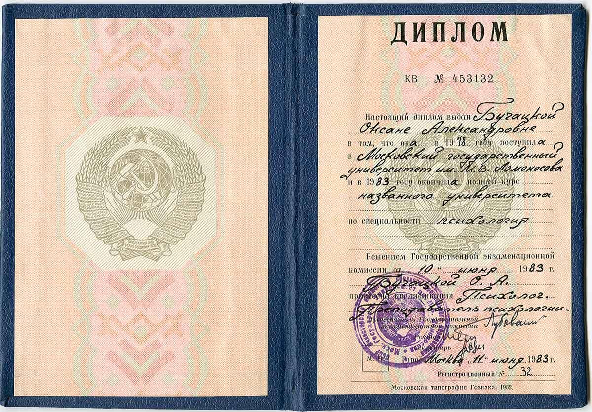 Диплом о высшем образовании (Оксана Александровна Бучацкая)